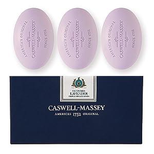 Caswell-Massey Triple Milled Luxury Bath Soap Set - Lavender - 5.8 Ounces Each, 3 Bars