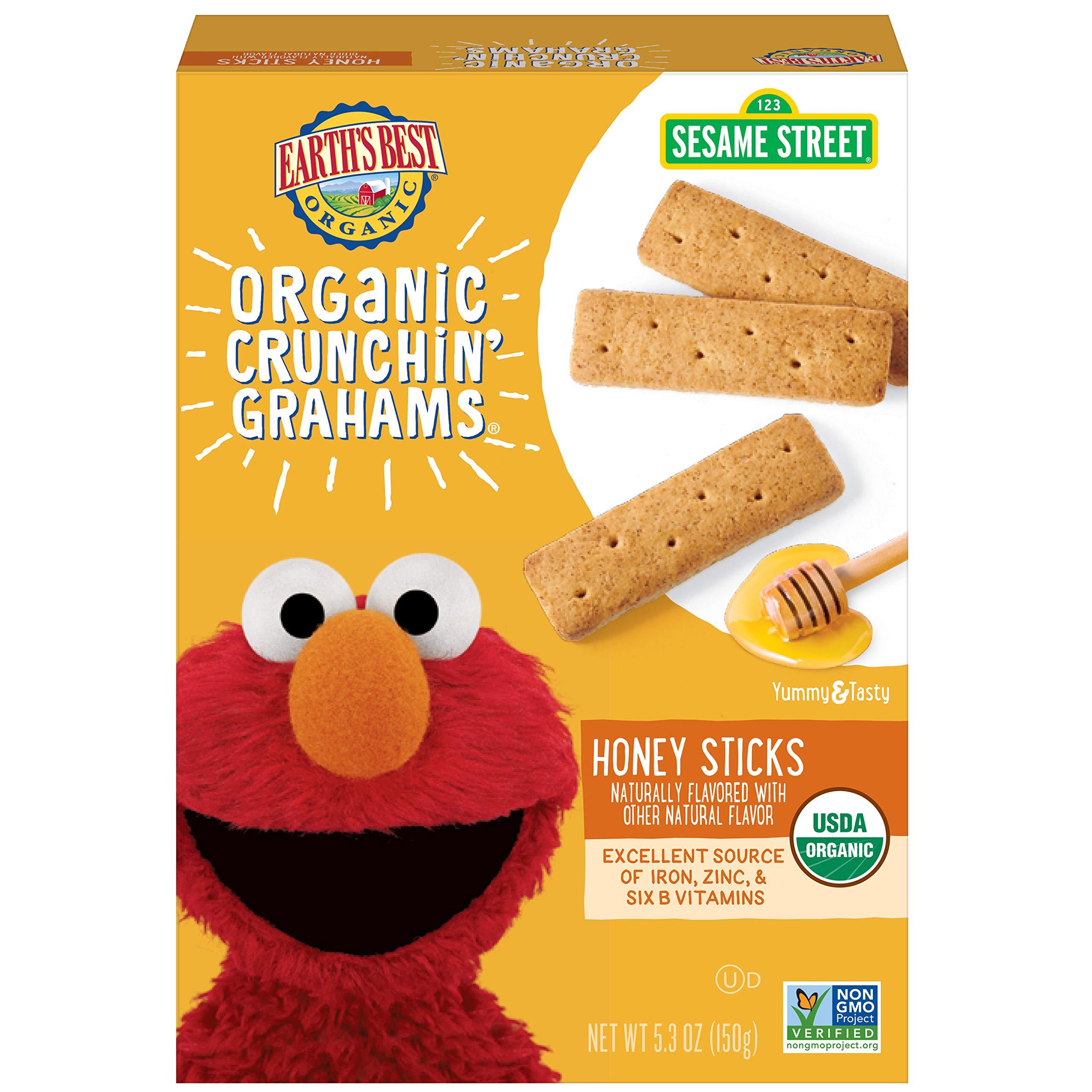 Earth's Best Organic Sesame Street Toddler Crunchin' Grahams, Honey Sticks, 5.3 oz. Box (Pack of 6) by Earth's Best