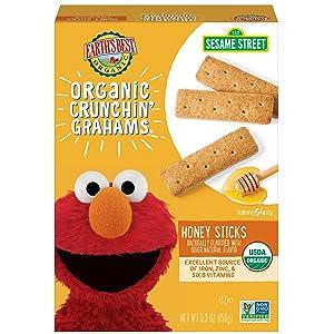 Earth's Best Organic Sesame Street Toddler Crunchin' Grahams, Honey Sticks, 5.3 Oz Box (Pack of 6)