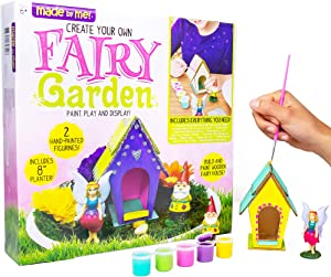 "Made By Me Create Your Own Fairy Garden by Horizon Group USA, Build, Paint & Display Your Personalized Wooden Fairy House. 8"" Planter, Figurines, Glitter, Glue, Paint, Wooden Fairy House Included"