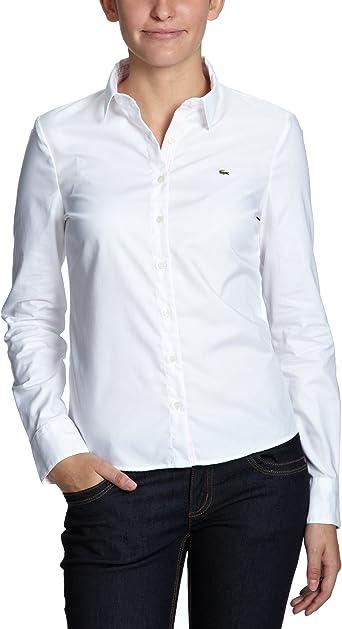 Lacoste - Blusa de Manga Larga para Mujer, Talla 40, Color Blanco/Blanc Rosee SC 000: Amazon.es: Ropa y accesorios