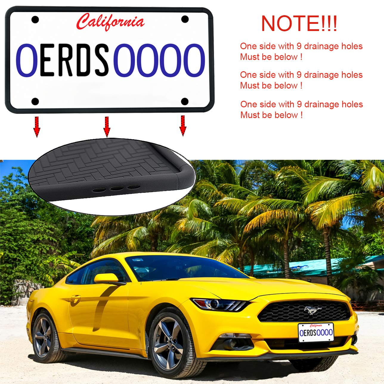 ZOORE 1PCS Premium Silicone License Plate Frames, Car Tag Holders with 9 Drainage Holes, Ideal Universal American Auto Licenses Plate Covers Holder Rust-Proof/Rattle-Proof/Weather-Proof Black
