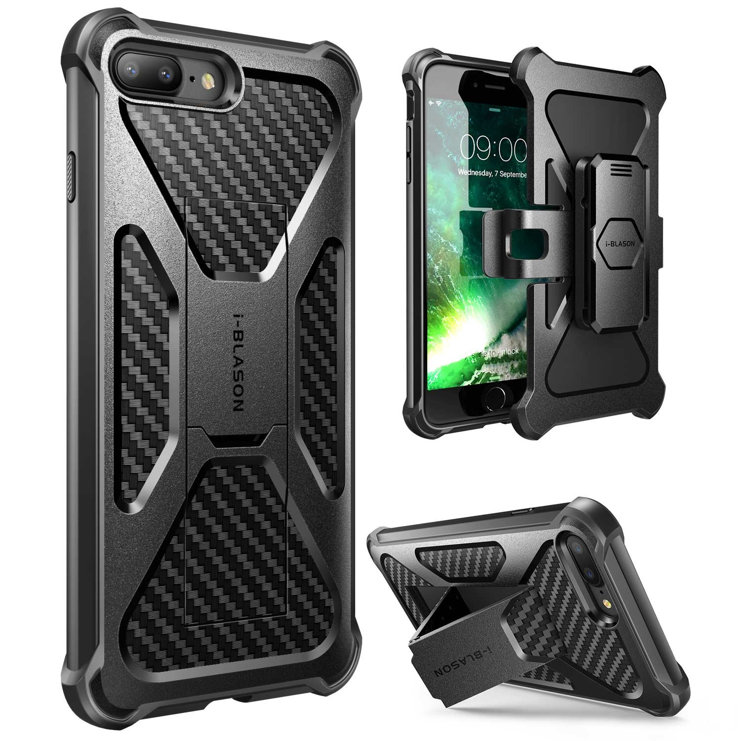 iPhone 8 Plus Case, i-Blason Transformer [Kickstand] Apple iPhone 8 Plus 2017 [Heavy Duty] [Dual Layer] Combo Holster Cover case with [Locking Belt Swivel Clip] (Compatible with iPhone 7 Plus)(Black)