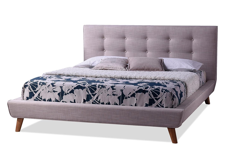 amazoncom baxton studio jonesy style mid century linen fabric upholstered platform bed king beige kitchen u0026 dining