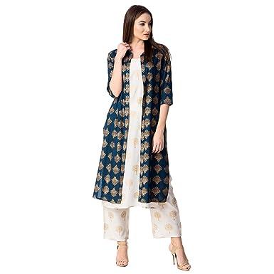 d9d8002d8c KHUSHAL Women's Cotton Printed Jacket Kurta With Palazzo Pant Set(Blue,  Small)