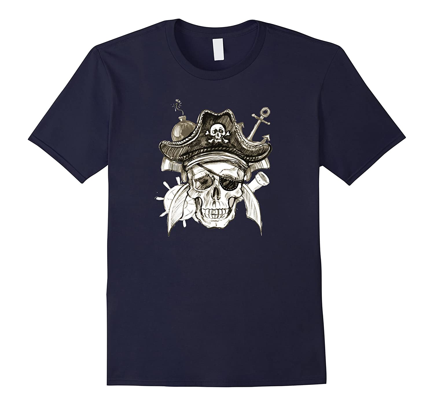 Pirate Skull Jolly Roger T-Shirt Tee Shirt Anchor Hat Cannon-PL