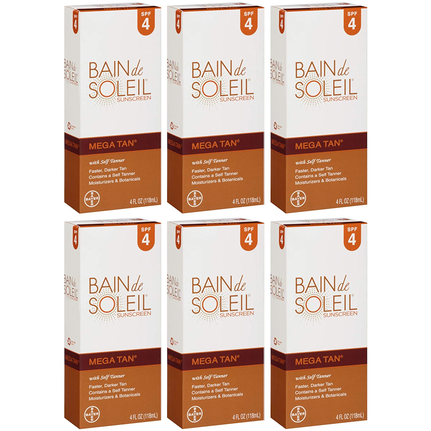 Bain De Soleil Spf#4 Mega Tan With Self Tanner 4oz (3 Pack)