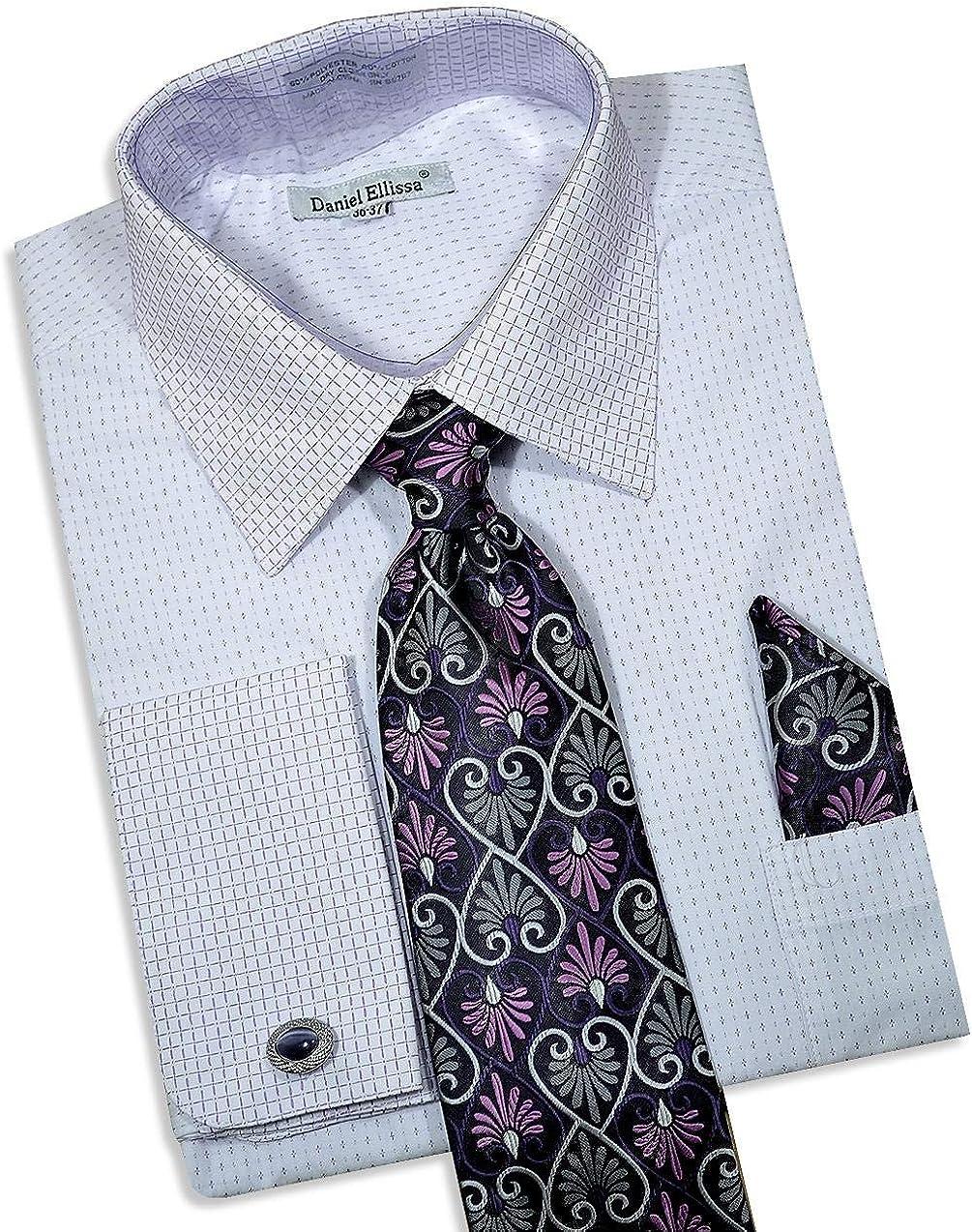 Mens Daniel Elissa French Cuff Dress Shirt Blue//WhiteTie Hanky Cufflinks Inc