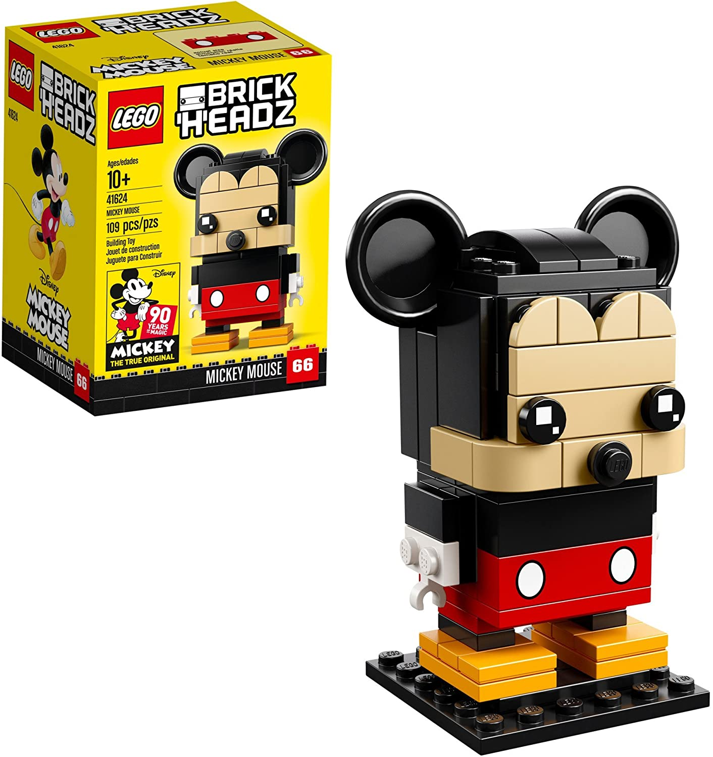 Lego 6225330 Brickheadz Mickey Mouse 41624 Building Kit (109 Piece), Multicolor