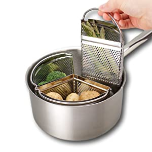 Saucepan Triple Divider And Separator Set - Saves Energy and Space When Cooking. Three Part Professional 18cm Stainless Steel Strainer, Ideal For Vegetables, Potatoes, Mussels, Boiled Eggs And More.