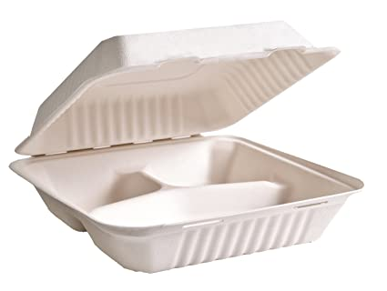 Con bisagras Take Out contenedores, compostable, biodegradable ...