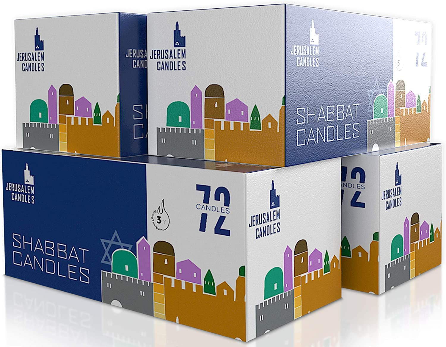 Shabbat Candles - Traditional Shabbos Candles - 3 Hour - 4-Pack x 72 Count, (288 Candles): Home Improvement