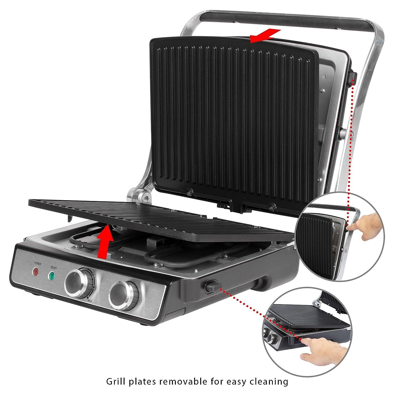 ProfiCook PC-KG 1029 Grill de asar con tapa basculante, doble apertura 180º, 2000 W, Acero Inoxidable, Negro y gris