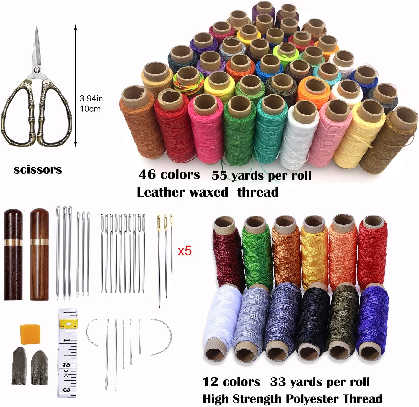 Leathercraft Tough Blunt Stitching /& Sewing Needles x5 Large for Leather