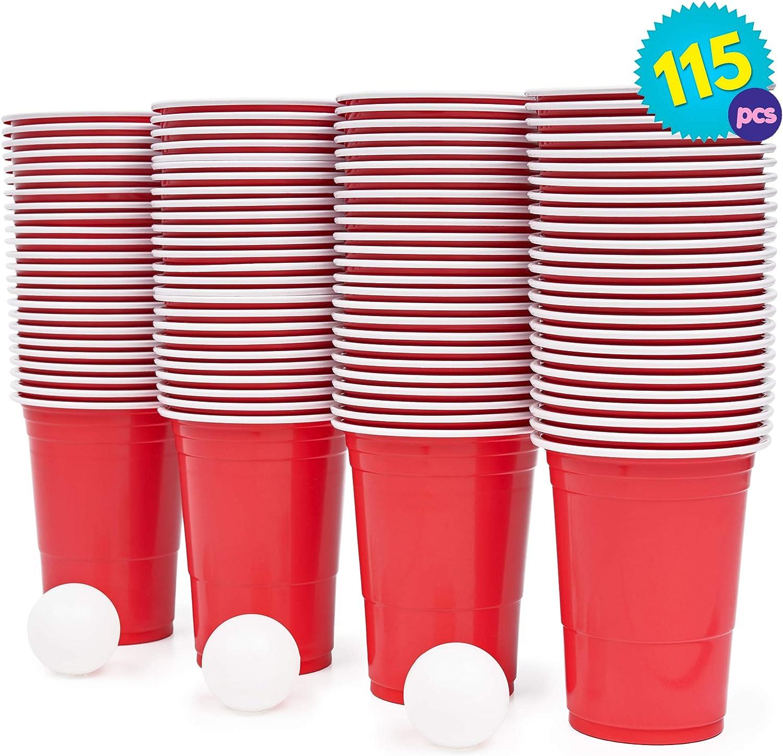 Set de Beer Pong Americano – 100 Vasos Rojos y 15 Bolas de Pimpón – Juegos para Beber de Mesa para de Adultos – Accesorio para Fiesta de Disfraces, Cumpleaños – Articulo de Entretenimiento