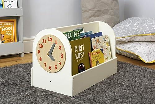 Tidy Books Kinder-Bücherbox mit Uhr | Kinder Bücherregale für Kita und Kindergarten