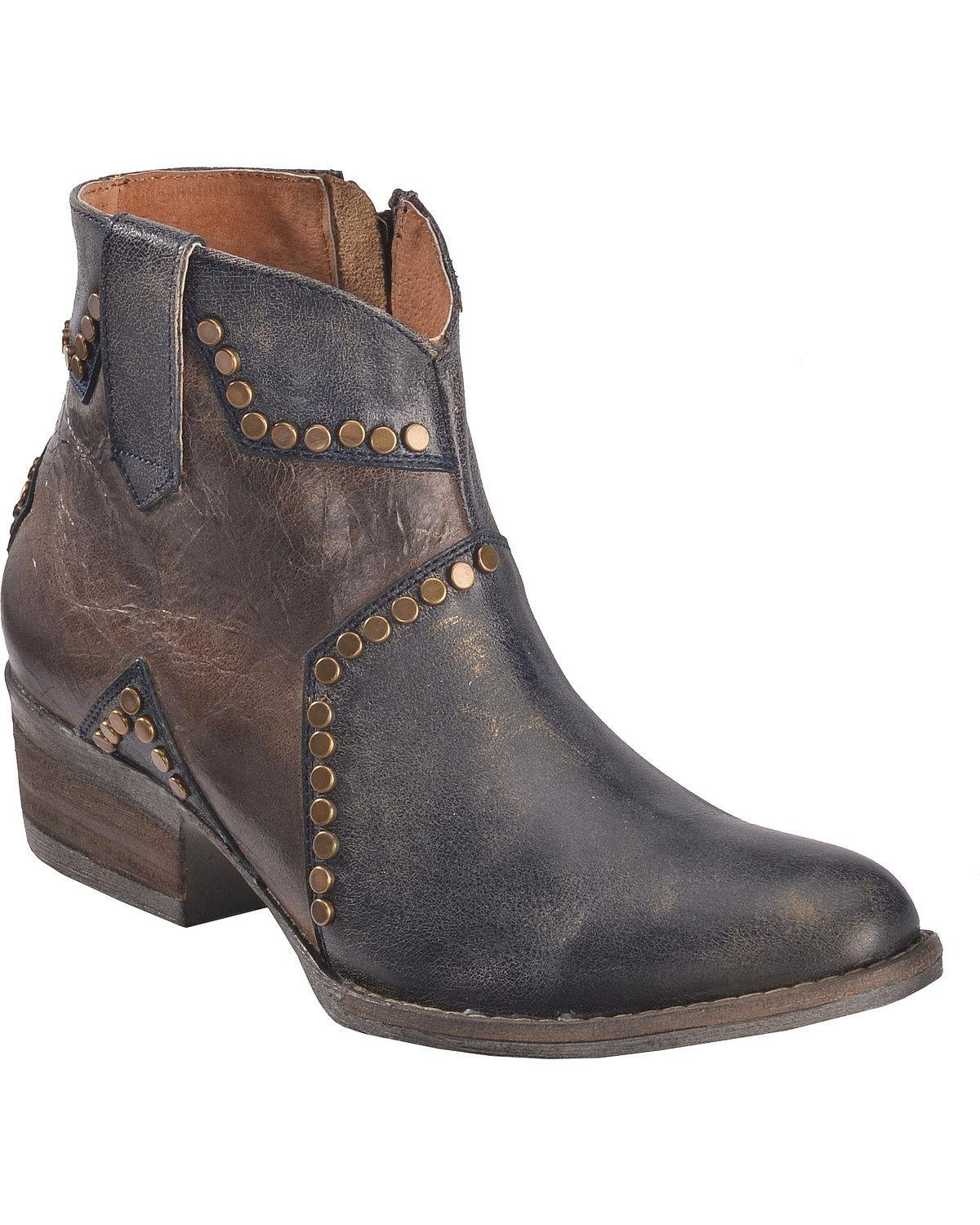 Circle G Women's Studded Star Inlay Ankle Boot Round Toe - Q5025 B078NTY197 6 B(M) US|Blue