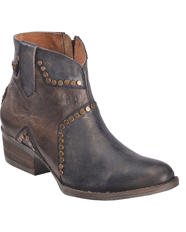 Circle G Women's Studded Star Inlay Ankle Boot Round Toe - Q5025 B078HRFNYQ 7.5 B(M) US|Blue