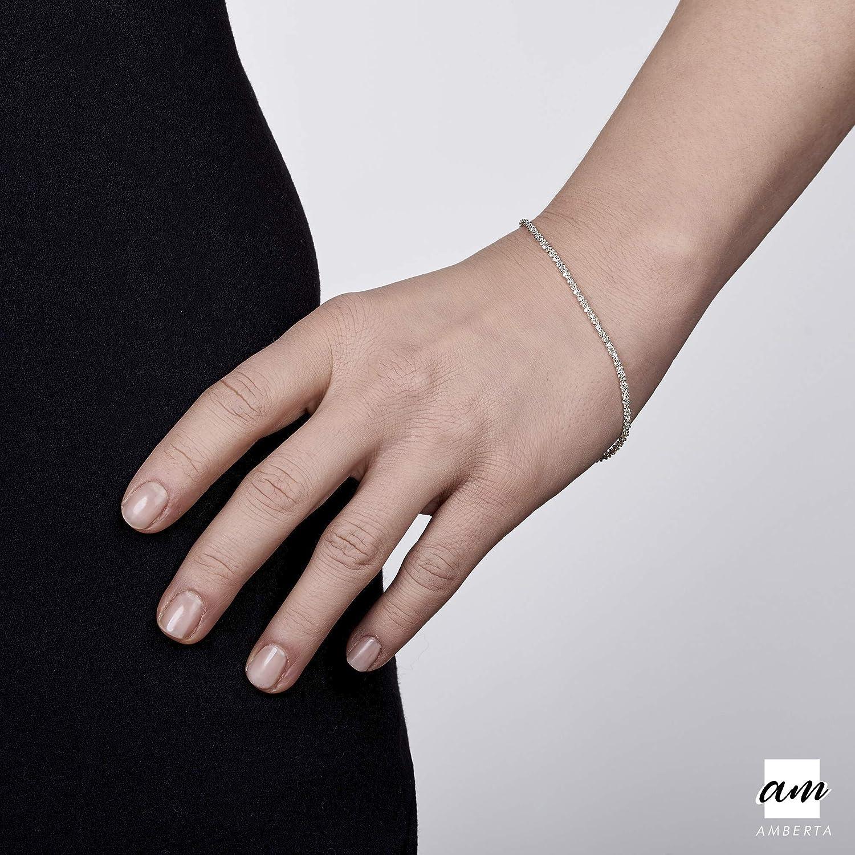 Maille Cheval Diamant/ée Bracelet Longueur 19 20 cm Largeur 3.1 mm Amberta/® Bijoux Gros Maillons Cha/îne Argent 925//1000