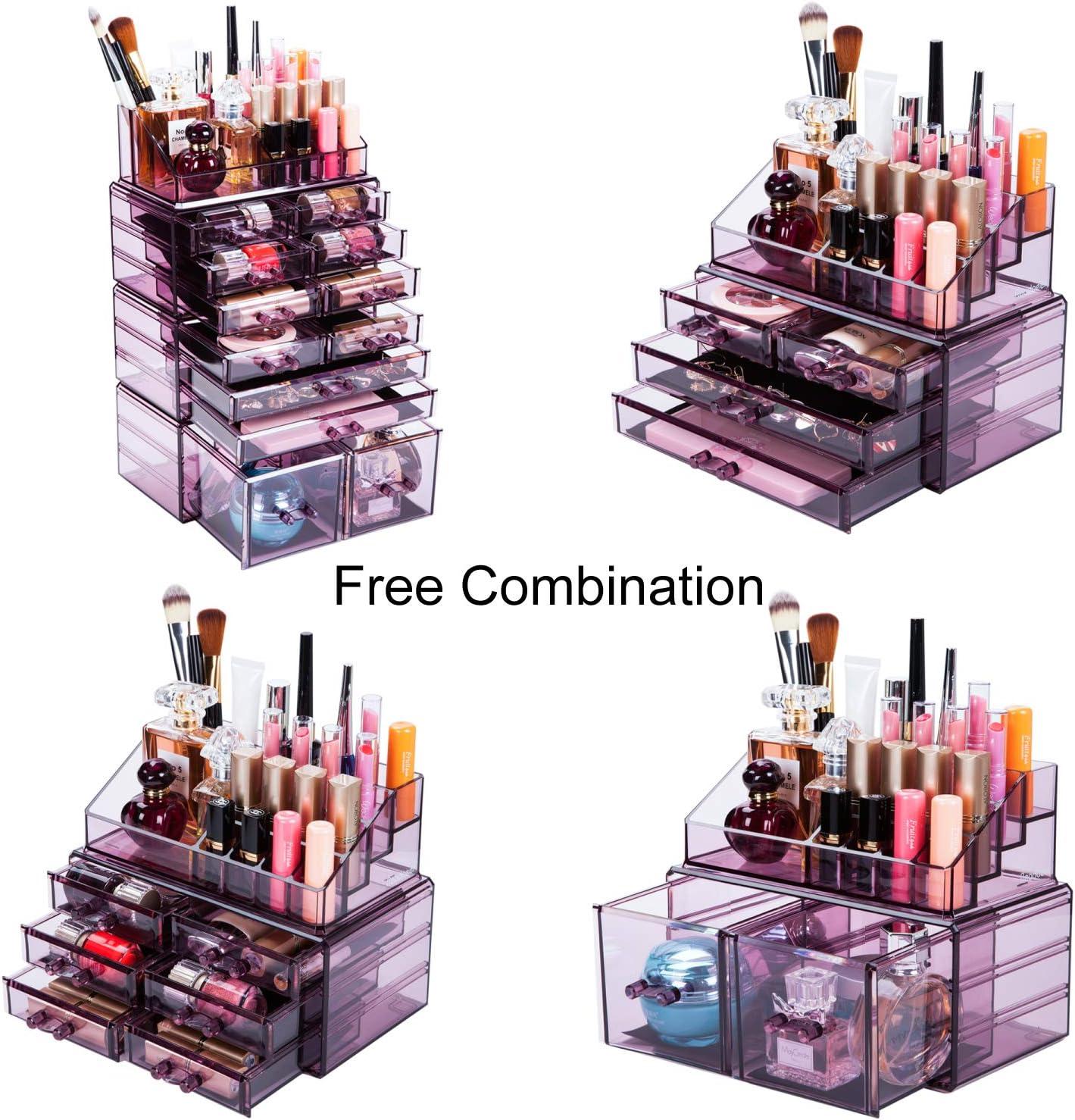 Readaeer Organisateur pour Maquillage Bo/îte de Rangement Cosm/étiques avec 12 Tiroirs Violet