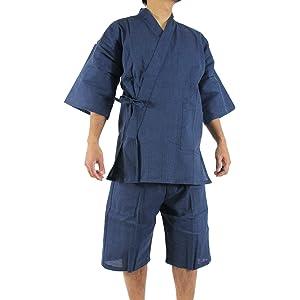 江戸てん しじら織り甚平 糸・縫製・染色全て日本製 メンズ 小あじろ織 紺5003NV L