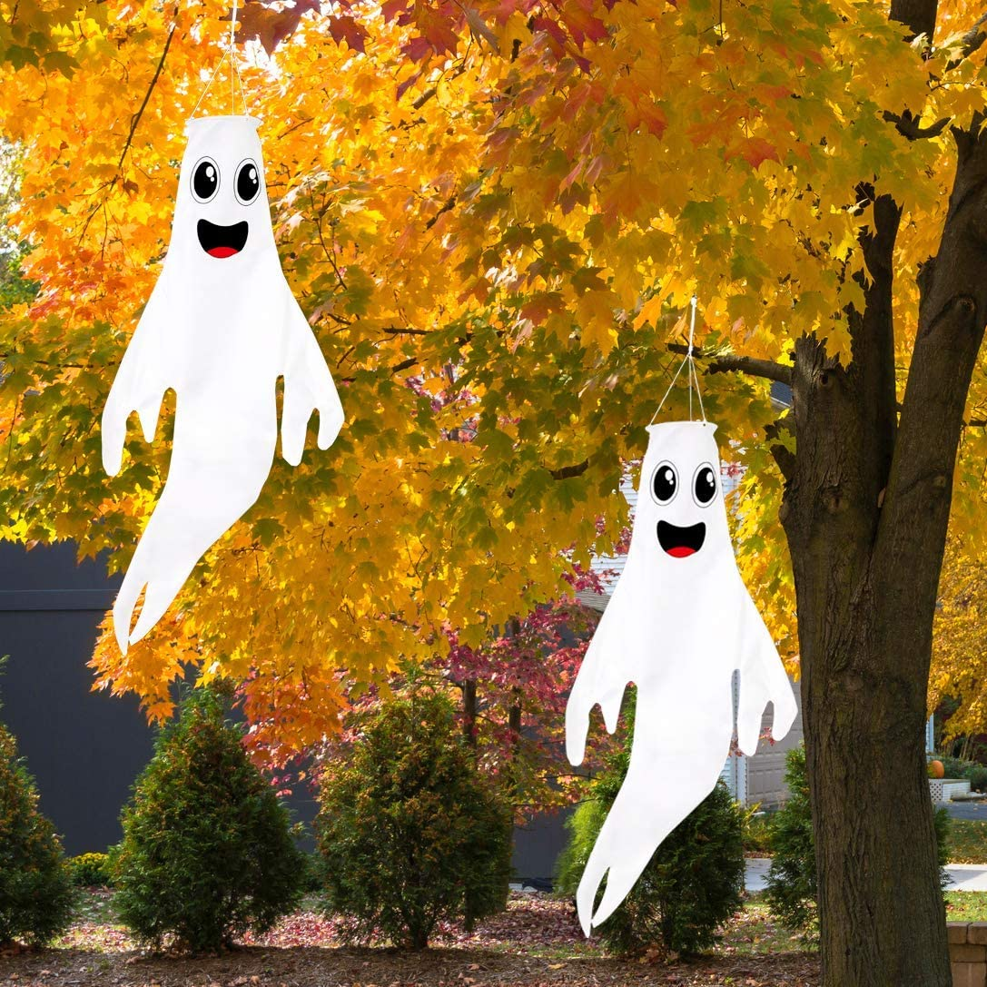 "Geefuun 43"" Halloween Ghost Windsocks Hanging Decorations - Flag Wind Socks for Home Yard Outdoor Decor Party Supplies (2 Pieces)"