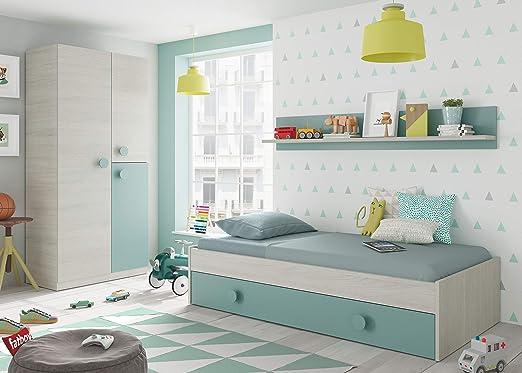 Habitdesign 0J7447Y - Cama Nido Juvenil, 2 Camas + Estante, Color ...