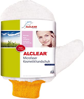 ALCLEAR 200805GS Microfiber Cosmetic Mitt, white with a orange cuff, size approx. 5.91