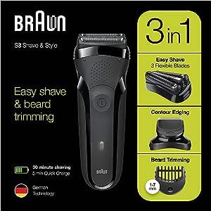 Braun Series 3 Shave&Style 300BT, Afeitadora Eléctrica 3 en 1, Máquina de Afeitar Para Hombre Con Recortadora De Precisión Para La Barba, 5 Peines, Color Negro: Amazon.es: Salud y cuidado personal