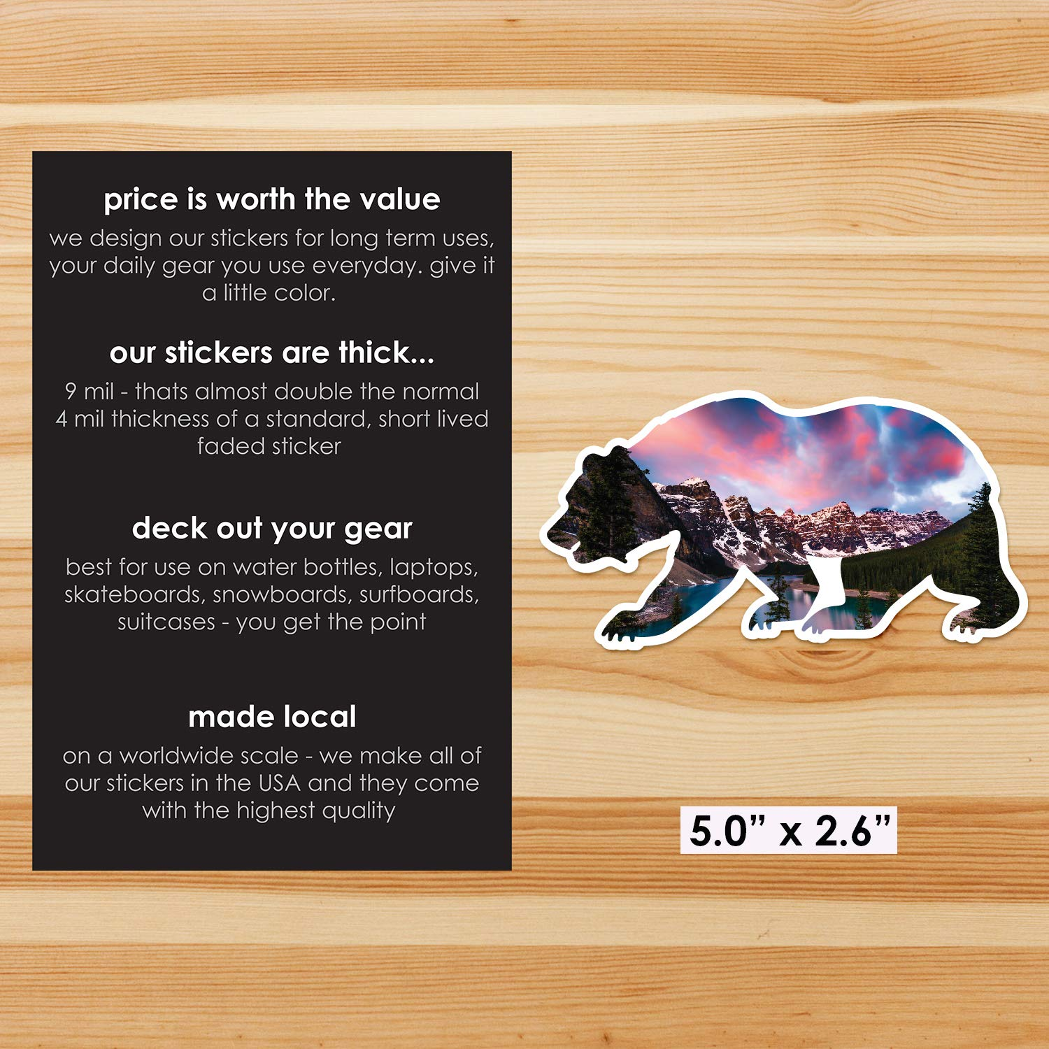 Summit Stickers Up North Face Bear Decals for Water Bottles Mountain Camping Travel Adventure Fishing Premium Matte Vinyl