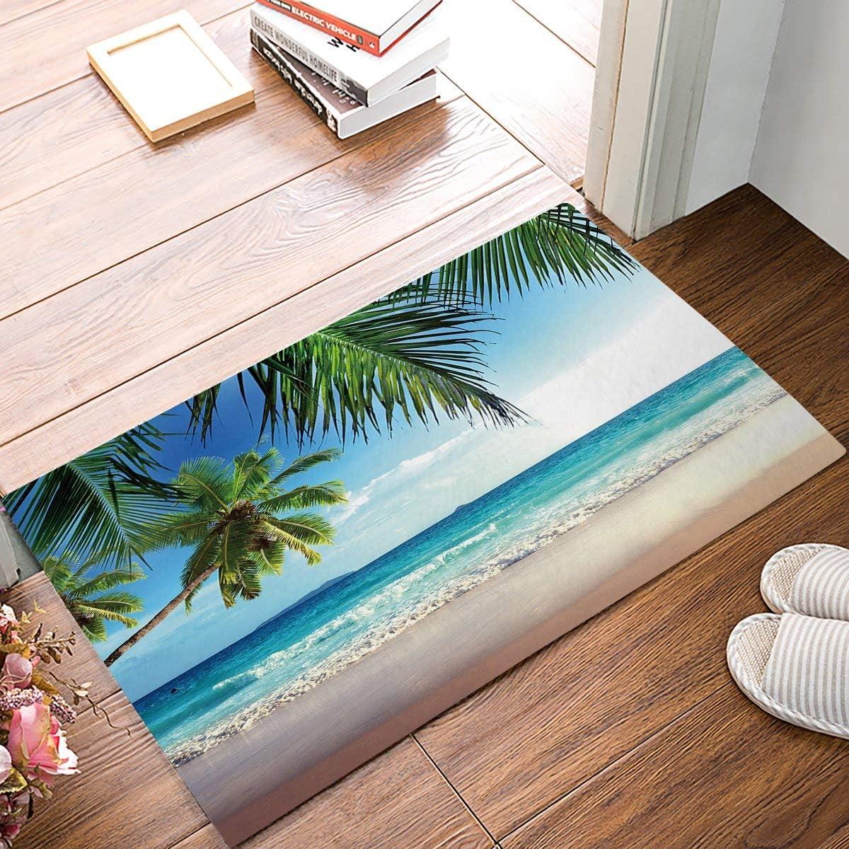 SIMIGREE 32 x 20 Inch Tropical Coconut Palm Tree Sandy Beach Door Mats Kitchen Floor Bath Entryway Rug Mat Absorbent Indoor Bathroom Decor Doormats Rubber Non Slip