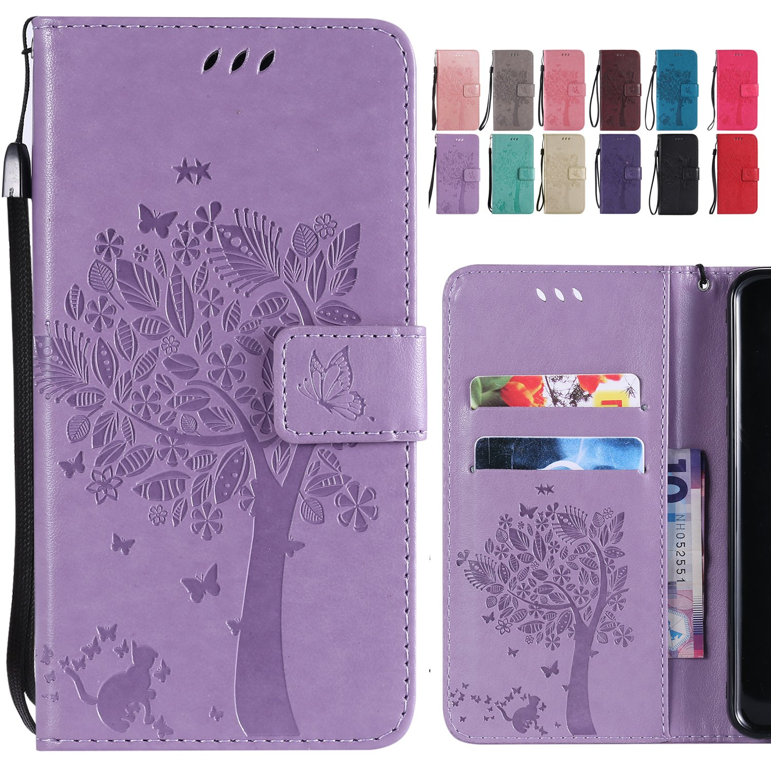 Premium PU Leather Flip Stand Wallet Cover Magnetic-Buckle Protective Soft TPU Bumper Case for Huawei Mate 20 Lite with Card Slot Ougger For Huawei Mate 20 Lite Case Light Purple Cat /& Tree
