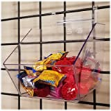 Clear Gridwall Acrylic Bins, Small Bin for Grid Panels - 6' L x 5.5' H x 7.5' D - 10 Pack