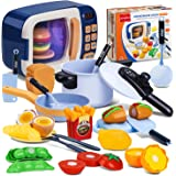 NONZERS Microwave Toy, Kitchen Pretend Play Toys, with Electronic Oven, Steam Pressure Pot, Cooking Utensils, Cut Play…