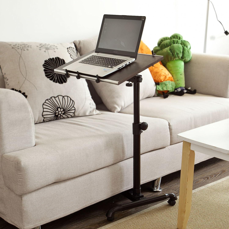 FBT07N-BR ,IT SoBuy/® Portatile Laptop con Ruote,Supporto Tavolino,Tavolino da Divano,Regolabile,Marrone L52*L33*A61.5-85cm