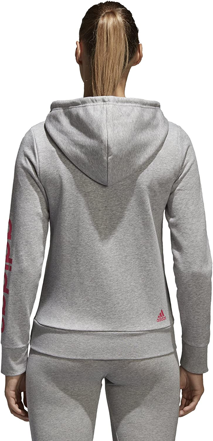adidas Damen Essentials Linear Full Zip Hoodie Medium Grey Heather/Real Pink