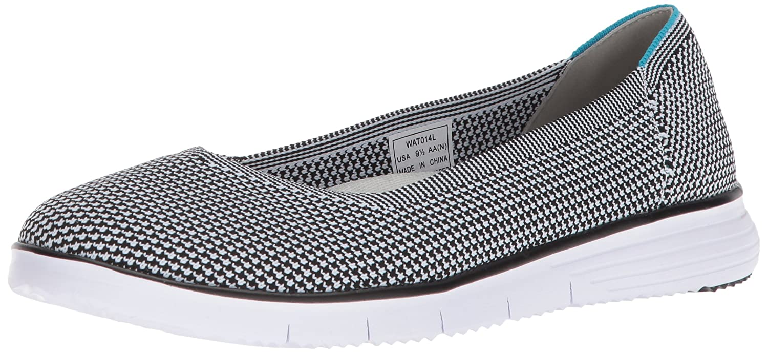 Propet Women's TravelFit Flex Ballet Flat B071W9B6WS 12 2E US|Black/White
