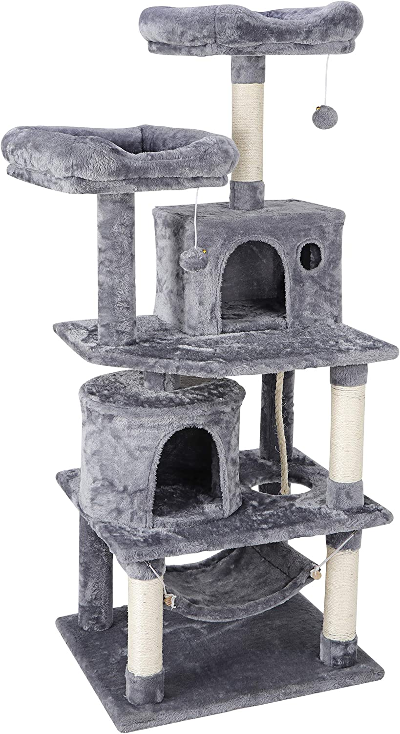57.1 Inches Multi-Level Cat Tree Tower with Scratching Posts Perch Hammock Pet Furniture Kitten Activity Tower Kitty Play House