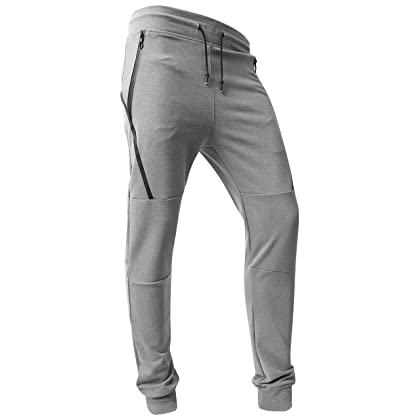 7bd68e4a923 Hat and Beyond VW Mens Jogger Pants Biker Slim Fit Casual Fleece Active  Elastic 1VWA5001-18 (Small
