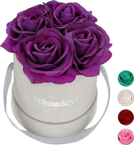 Relaxdays Rosas Artificiales en Caja Gris Redonda, 4 Unidades ...