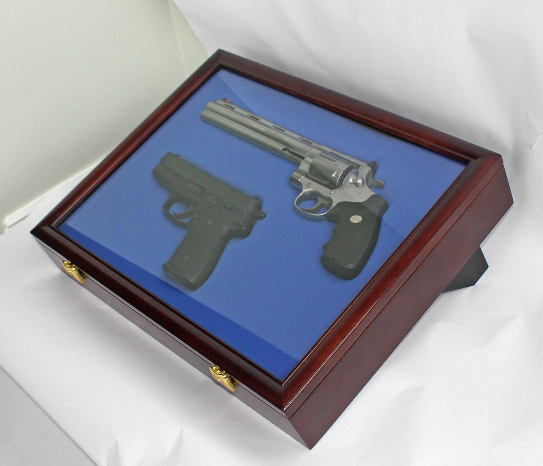 Double pistol handgun revolver gun display case cabinet rack shadowbox - Amazon Com Pistol Airsoft Gun Handgun Display Case Shadow Box Lockable Gn01 Mahogany Sports Outdoors