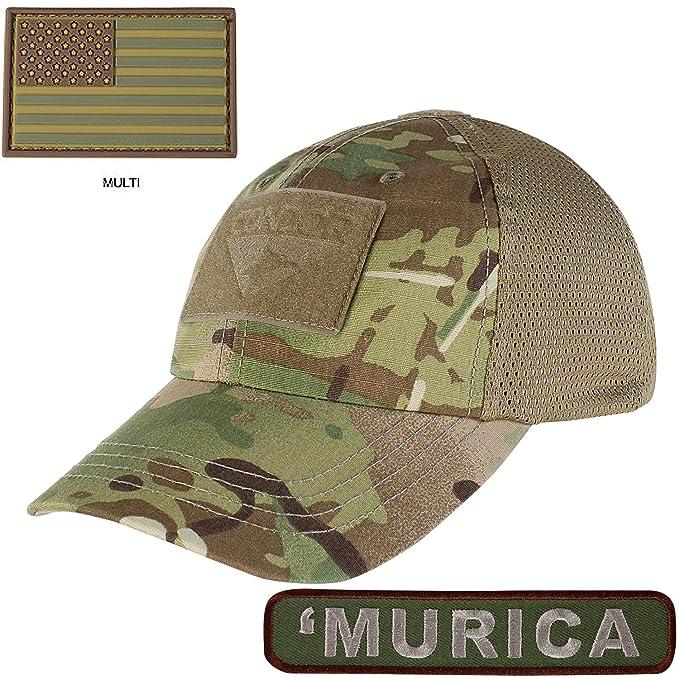 Condor Mesh Tactical Cap Multicam with PVC U.S. Flag TWO Morale Patch Bundle d2953979fe2