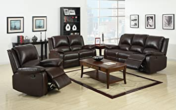 Furniture Of America Wulner 3 Piece Leatherette Recliner Sofa Set Rustic Dark Brown Finish