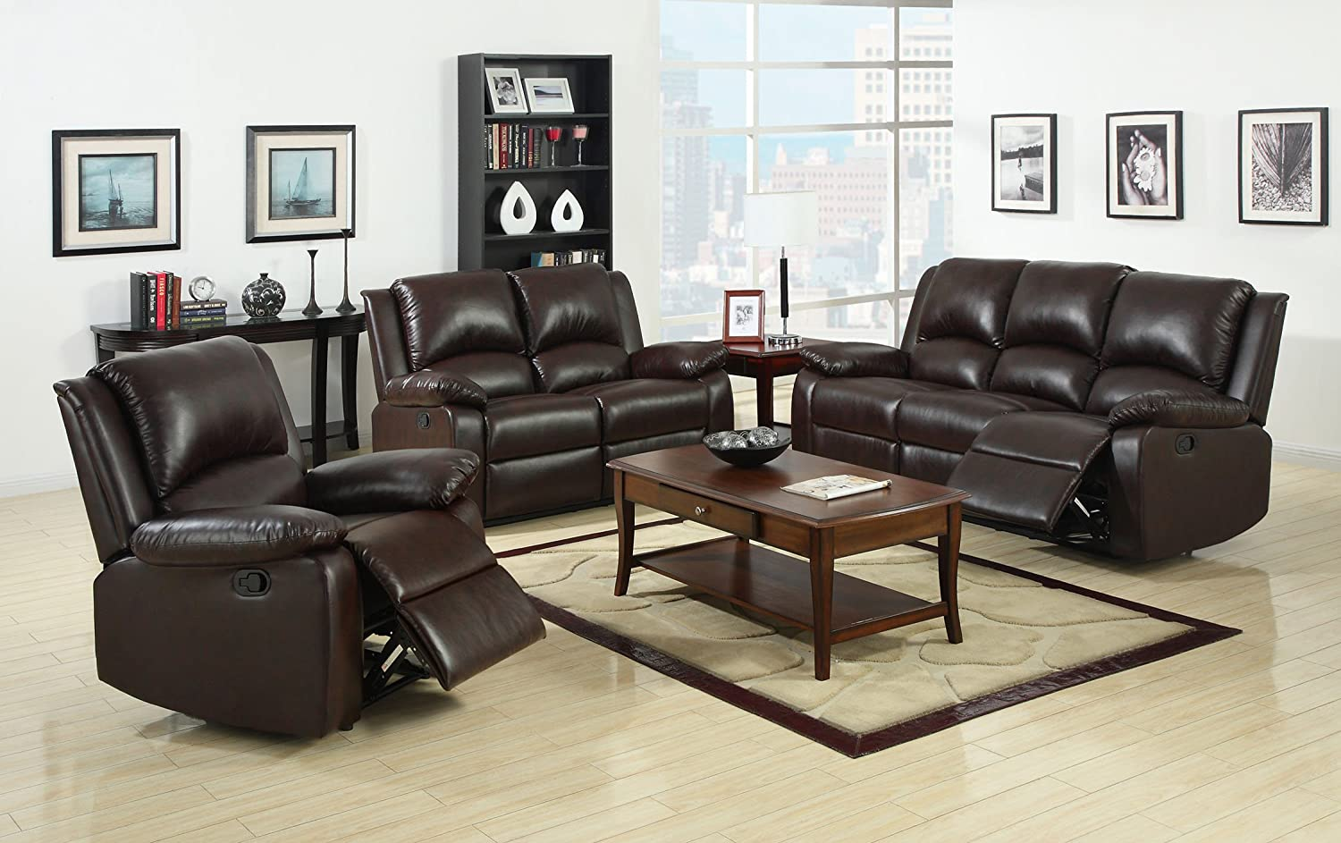 Strange Furniture Of America Wulner 3 Piece Leatherette Recliner Sofa Set Rustic Dark Brown Finish Lamtechconsult Wood Chair Design Ideas Lamtechconsultcom