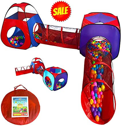 Playz 4pc Pop Up Children Play Tent w/ 2 Crawl Tunnel u0026 2 Tents -  sc 1 st  Amazon.com & Amazon.com: Playz 4pc Pop Up Children Play Tent w/ 2 Crawl Tunnel ...