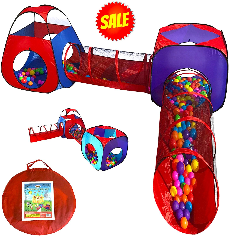 Playz 4pc Pop Up Children Play Tent W 2 Crawl Tunnel Amp 2