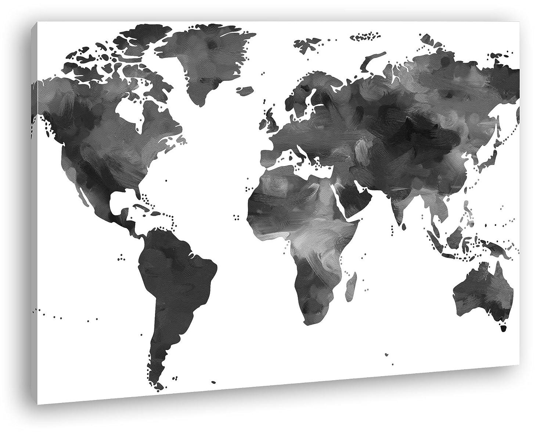 bunte Weltkarte Format: 3-teilig 120x80 Effekt: Schwarz/Weiß als ...