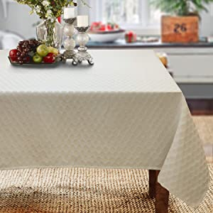 CAIT CHAPMAN HOME COLLECTION Yarn Dyed Metallic Geometry Tablecloth (60