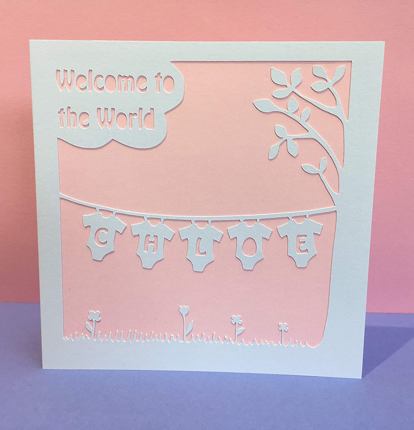 Personalised New Baby Card Baby Girl Baby Boy Colour Choice