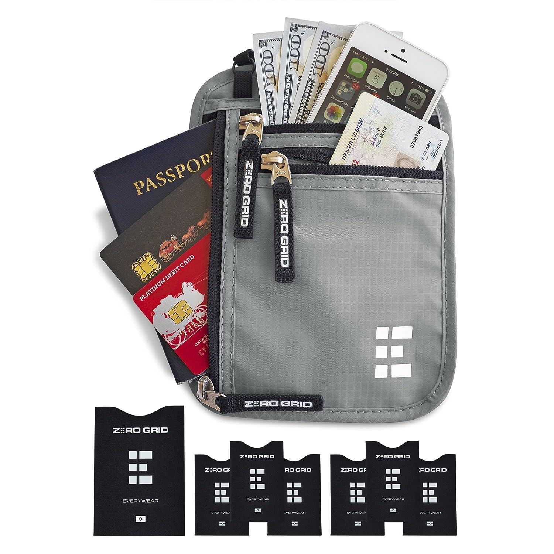 Brusttasche Brustbeutel mit RFID Blocker Reisegeldbeutel Reisedokumententasche (Ash) MNW-AS